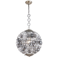 Elegant Lighting 1702D18ASL Bellagio 1 Light 18 inch Antique Silver Leaf Pendant Ceiling Light Urban Classic
