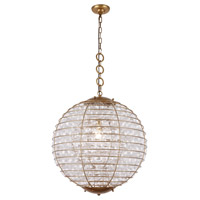 Elegant Lighting 1702D24AGL Bellagio 1 Light 24 inch Antique Gold Leaf Chandelier Ceiling Light Urban Classic