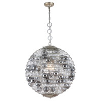 Elegant Lighting 1702D24ASL Bellagio 1 Light 24 inch Antique Silver Leaf Chandelier Ceiling Light Urban Classic
