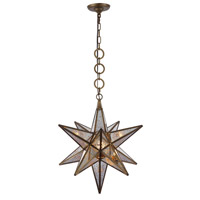 Orion 1 Light 18 inch Dark Antique Brass Pendant Ceiling Light, Urban Classic