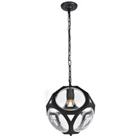 Elegant Lighting 1710D12FB Vega 1 Light 13 inch Flat Black Pendant Ceiling Light, Urban Classic