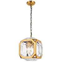 Elegant Lighting 1711D11LAB Juno 4 Light 11 inch Light Antique Brass Pendant Ceiling Light, Urban Classic