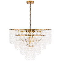 Elegant Lighting 1713D32LAB Debutante 12 Light 32 inch Light Antique Brass Pendant Ceiling Light, Urban Classic
