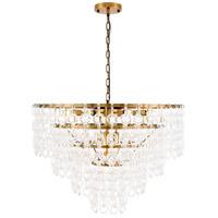 Elegant Lighting 1713D32LAB Debutante 12 Light 32 inch Light Antique Brass Pendant Ceiling Light Urban Classic