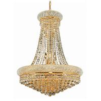 Elegant Lighting V1800D28G/SS Primo 14 Light 28 inch Gold Dining Chandelier Ceiling Light in Swarovski Strass