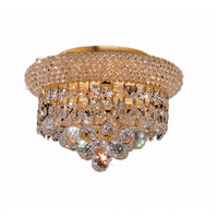 Elegant Lighting Primo 3 Light Flush Mount in Gold with Elegant Cut Clear Crystal 1800F10G/EC