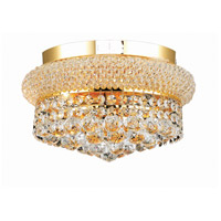 Elegant Lighting Primo 4 Light Flush Mount in Gold with Swarovski Strass Clear Crystal 1800F12G/SS