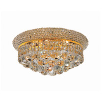Elegant Lighting Primo 6 Light Flush Mount in Gold with Elegant Cut Clear Crystal 1800F14G/EC