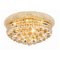 Primo 8 Light 16 inch Gold Flush Mount Ceiling Light in Elegant Cut