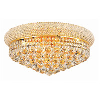 Elegant Lighting Primo 10 Light Flush Mount in Gold with Swarovski Strass Clear Crystal 1800F20G/SS