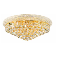 Elegant Lighting Primo 12 Light Flush Mount in Gold with Elegant Cut Clear Crystal 1800F24G/EC