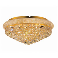 Elegant Lighting Primo 15 Light Flush Mount in Gold with Elegant Cut Clear Crystal 1800F28G/EC