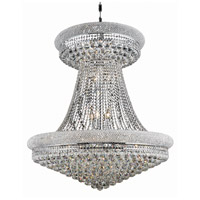 Elegant Lighting Primo 28 Light Foyer in Silver and Clear Mirror with Elegant Cut Clear Crystal 1800G36SC/EC