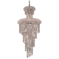 Elegant Lighting Spiral 10 Light Dining Chandelier in Chrome with Elegant Cut Clear Crystal 1800SR16C/EC