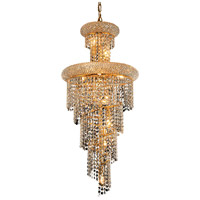 Elegant Lighting Spiral 10 Light Dining Chandelier in Gold with Swarovski Strass Clear Crystal 1800SR16G/SS