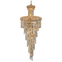 Elegant Lighting Spiral 28 Light Foyer in Gold with Royal Cut Clear Crystal 1800SR30G/RC