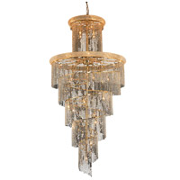 Spiral 41 Light 48 inch Gold Foyer Ceiling Light in Spectra Swarovski