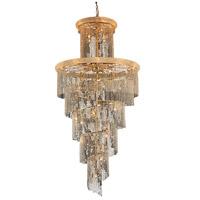 Elegant Lighting V1800SR48G/EC Spiral 41 Light 48 inch Gold Foyer Ceiling Light in Elegant Cut