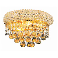 Elegant Lighting Primo 2 Light Wall Sconce in Gold with Royal Cut Clear Crystal 1800W12G/RC