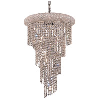 Elegant Lighting Spiral 8 Light Dining Chandelier in Chrome with Elegant Cut Clear Crystal 1801SR16C/EC