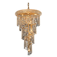 Elegant Lighting Spiral 8 Light Dining Chandelier in Gold with Royal Cut Clear Crystal 1801SR16G/RC