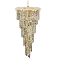 Elegant Lighting V1801SR22G/SA Spiral 18 Light 22 inch Gold Foyer Ceiling Light in Spectra Swarovski