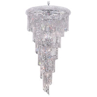 Elegant Lighting Spiral 22 Light Foyer in Chrome with Elegant Cut Clear Crystal 1801SR30C/EC