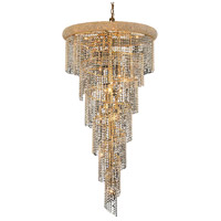 Elegant Lighting Spiral 22 Light Foyer in Gold with Elegant Cut Clear Crystal 1801SR30G/EC