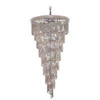 Elegant Lighting Spiral 26 Light Foyer in Chrome with Swarovski Strass Clear Crystal 1801SR36C/SS
