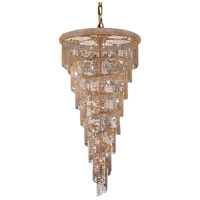 Elegant Lighting V1801SR36G/EC Spiral 26 Light 36 inch Gold Foyer Ceiling Light in Elegant Cut