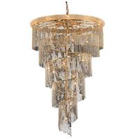 Elegant Lighting V1801SR48G/EC Spiral 29 Light 48 inch Gold Foyer Ceiling Light in Elegant Cut