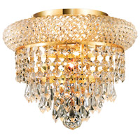 Elegant Lighting Primo 3 Light Flush Mount in Gold with Royal Cut Clear Crystal 1802F10G/RC