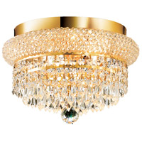 Elegant Lighting Primo 4 Light Flush Mount in Gold with Swarovski Strass Clear Crystal 1802F12G/SS