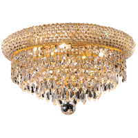 Elegant Lighting Primo 6 Light Flush Mount in Gold with Elegant Cut Clear Crystal 1802F14G/EC