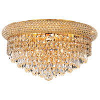 Elegant Lighting Primo 8 Light Flush Mount in Gold with Swarovski Strass Clear Crystal 1802F16G/SS