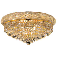 Elegant Lighting Primo 10 Light Flush Mount in Gold with Swarovski Strass Clear Crystal 1802F20G/SS