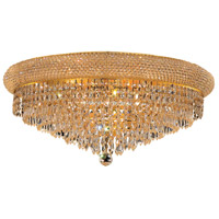 Elegant Lighting Primo 12 Light Flush Mount in Gold with Swarovski Strass Clear Crystal 1802F24G/SS