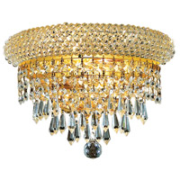 Elegant Lighting Primo 2 Light Wall Sconce in Gold with Royal Cut Clear Crystal 1802W12G/RC