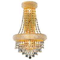 Elegant Lighting Primo 4 Light Wall Sconce in Gold with Royal Cut Clear Crystal 1802W12SG/RC