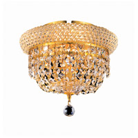 Elegant Lighting Primo 3 Light Flush Mount in Gold with Swarovski Strass Clear Crystal 1803F10G/SS