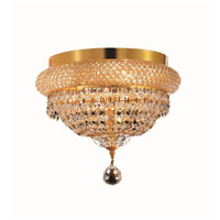Elegant Lighting Primo 4 Light Flush Mount in Gold with Royal Cut Clear Crystal 1803F12G/RC alternative photo thumbnail