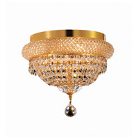 Elegant Lighting Primo 4 Light Flush Mount in Gold with Elegant Cut Clear Crystal 1803F12G/EC