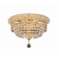 Elegant Lighting Primo 6 Light Flush Mount in Gold with Elegant Cut Clear Crystal 1803F14G/EC
