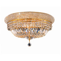 Elegant Lighting Primo 10 Light Flush Mount in Gold with Swarovski Strass Clear Crystal 1803F20G/SS