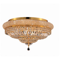 Elegant Lighting Primo 15 Light Flush Mount in Gold with Swarovski Strass Clear Crystal 1803F28G/SS