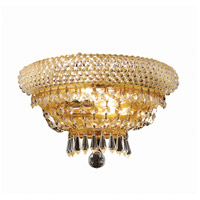 Elegant Lighting Primo 2 Light Wall Sconce in Gold with Royal Cut Clear Crystal 1803W12G/RC