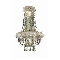 Elegant Lighting Primo 4 Light Wall Sconce in Silver and Clear Mirror with Elegant Cut Clear Crystal 1803W12SC/EC