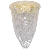 Elegant Lighting Primo 12 Light Flush Mount in Gold with Swarovski Strass Clear Crystal 1806F24G/SS