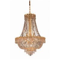 Elegant Lighting Century 12 Light Dining Chandelier in Gold with Elegant Cut Clear Crystal 1900D20G/EC