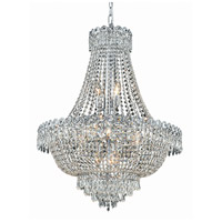 Elegant Lighting Century 12 Light Dining Chandelier in Chrome with Elegant Cut Clear Crystal 1900D24C/EC